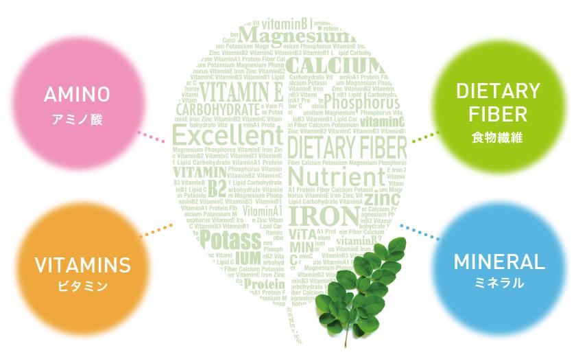 アミノ酸、ビタミン、食物繊維、ミネラル